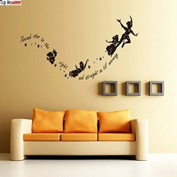 Top-Me Peter Pan Second Star To The Right Wall Sticker Nursery Kids Bedroom Vinyl Decal Tm8227