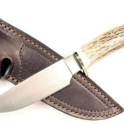 Ruko 4-3/4-Inch Blade Hunting Knife With Genuine Deer Horn Handle And Leather Sheath