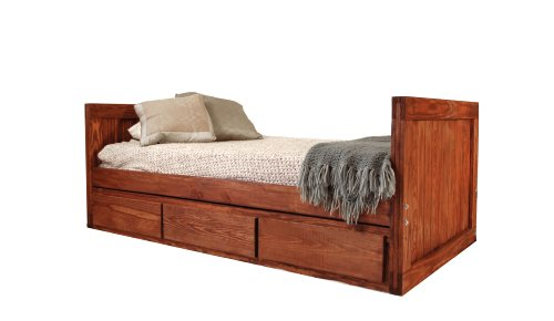 Image of Kids Captains Bed- Twin Size - Tall Headboard and Footboard - Dark Finish - Non-Toxic - No Lacquer (B004HM2VFO)