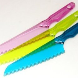 Set Of 3 - Plastic Lettuce Knife With Serrated Edges