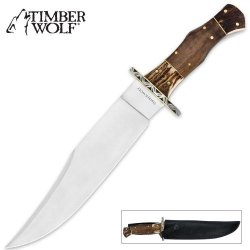 Timber Wolf Stainless Stag And Walnut Wood Bowie With Sheath