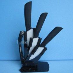 "New 5 Pieces 3""+4""+5"" Aantiskid Handle Paring Fruit Utility Ceramic Knife Sets + Peeler + Acrylic Holder Block Black"