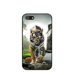 Dh-Hoping (Tm) Cell Phone Case For Personalizatied Custom Picture Iphone 5C Inch High Impackt Combo Soft Silicon Rubber Hybrid Hard Pc & Metal Aluminum Protective Case With Customizatied Skull Black Art Retro Style Luxurious Pattern (Mechanical Tiger)