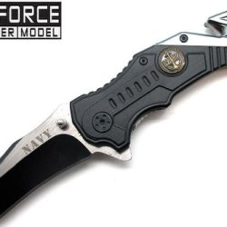 "3"" Two-Tone ""Navy"" Spring Assisted Tactical Rescue Knife - Black & Teal"