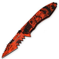 The Mutilator Ii - Trigger Assisted Knife - Red Camo Handle And Blade