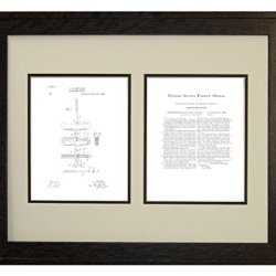 "Corkscrew Knife Patent Art White Matte Print In A Rustic Oak Wood Frame (16"" X 20"")"
