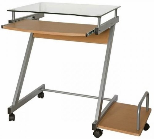 Picture of Comfortable Compact Glass Top Computer Cart (Beech) (29