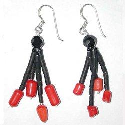 Handmade Black Serpentine, Glass & Red Coral Beaded Earrings