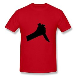Lzf Men'S Hand Stabbing Knife Cotton T-Shirt M Red