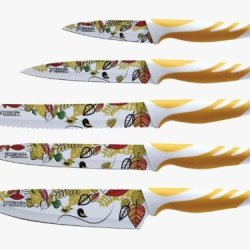 Peterhof 5 Pc Knife Set With Anti Bacterial Non Stick Coating (Yellow/Orange)