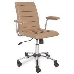 Leick Faux Leather Pleated Desk Chair, Saddle