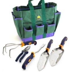 Cutco Model 331 6-Pc. Garden Tool Set --- #300 Cultivator, #301 Weeder, #302 Transplanting Trowel, #304 Garden Trowel, #1527 Bypass Pruner, And Canvas Cutco Tool Bag