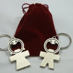 His And Her Luxury Bottle Opener Key Rings Gift Set - Silver Colour Nickel