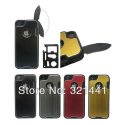 Moderngut Brushed Aluminum Hard Shell Slide Out Pocket And Camping Multifunction Knife Case Cover For Iphone 5 5G New