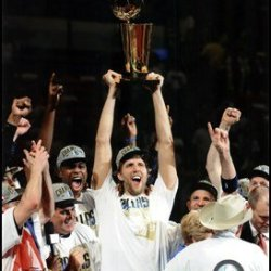 Dirk Nowitzki With The 2011 Nba Championship Trophy Game 6 Of The 2011 Nba Finals Art Poster Print Unknown 8X10