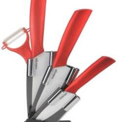 Melange 5-Piece Ceramic Knife Set With Metallic Red Handle And White Blade, Includes 6-Inch Chef'S Knife, 5-Inch Santoku Knife, 4-Inch Utility Knife, Peeler And Acrylic Holder