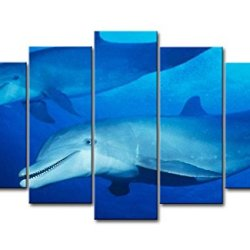 Blue 5 Panel Wall Art Painting Dolphins Down Under Blue Water Prints On Canvas The Picture Animal Pictures Oil For Home Modern Decoration Print Decor