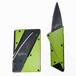 Credit Card Knife Cardsharp 3, Stainless Steel Cover, Folds For Easy Concealment And Safety Has High Quality Surgical Sharp Black Folding Blade And Is Easy To Carry In Wallet Or Purse Same Size As A Credit Card, Many Colors (Green)