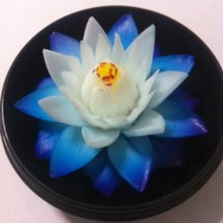 """Soap House® Thai Hand-Carved Soap Flower, 4"""" Scented Soap Carving, Blue Lotus In Decorative Pine Wood Case"""