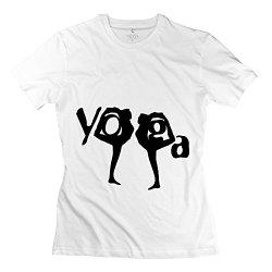 Lady Yoga Woman Silhouette 3 T-Shirt - Cool Custom White T Shirt
