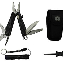 12 In 1 Survivor Tech Multitool Pliers Kit - Wire Cutter - Saw Blade - Bottle Opener - Medium And Small Phillips - Medium And Small Flat Drive - Scissors - Hanger Clip - File And Knife