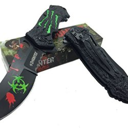 Z - Hunter Green Bio Hazard Logo On Blade Stainless Steel With Green Claw Pattern On Handle