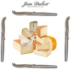 French Laguiole Dubost - Set Of 4 Cheese Knives - In All Stainless Steel (Genuine Quality Family Dinner Inox Table Flatware/Cutlery Dessert Setting - Each Knife: 6 Inches - Direct From France)