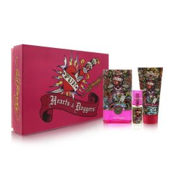 Ed Hardy Hearts & Daggers By Christian Audigier For Women 4 Piece Set Includes: 3.4 Oz Eau De Parfum Spray + 0.25 Oz Eau De Parfum Spray + 3.0 Oz Shimmering Body Lotion + 3.0 Oz Bath & Shower Gel