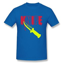 Shmuy Men'S Bloody Knife Cotton Round Collar T Shirt,Xxl,Royalblue