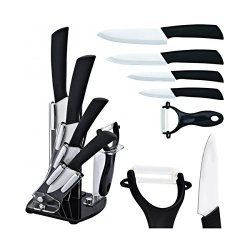"Premium 5 Piece Ceramic Cutlery Knife And Peeler Set (6"" Chef'S, 5"" Utility, 4"" Paring, 3"" Fruit Knife, With One Peeler) Black Handle And White Blade"