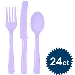 Premium Plastic Cutlery Assortment Luscious Lavender 288 Ct