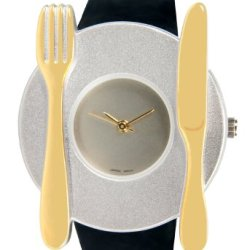Pedre Unisex Two-Tone Knife Fork And Plate Novelty Watch # 6575Tx