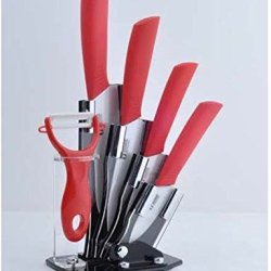 "Ceramic Knives Ceramic Knife Set --6 Include A Peeler, A 3"" Pairing Knife 4"" Slicing Knife, A 5"" Santoku Knife, A 6"" Chef Knife And An Acrylic Knife Block Holder, Red Handle"