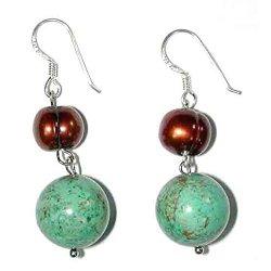 Handmade Sterling Silver, Turquoise & Golden Pearl Earrings