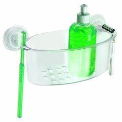 Interdesign Power Lock Suction, Small Shower Basket, Clear