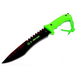 """New 13"""" Zombie-War Stainless Steel Hunting Knife With Neon Green Handle 8261"""
