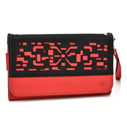 Doogee Dagger Dg550 Wallet & Wristlet Case || Red Deco With Credit Card Holder
