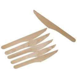 Wooden Knives - Disposable Wood Cutlery Silverware (100)