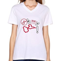 Goldfish Women'S Emotion Pre-Cotton Oh Guadeloupe T-Shirt White Us Size L
