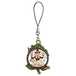 Giftjewelryshop Ancient Bronze Retro Style Thanksgiving Turkey Man With Fork Knife Flower Photo Rose Flower Strap Hanging Chain For Phone Cell Phone Charm