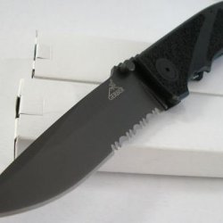 Gerber Icon Large Pocket Folder Black Titanium Blade Textured Grip Handle Knife