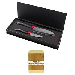 Kyocera Fk2Pcbk Revolution Paring And Santoku Knife Bundle With Bamboo Cutting Board