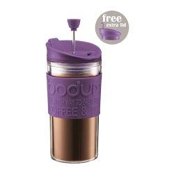 Bodum Travel Press Set Coffee Maker With Extra Lid 0.35L / 12Oz - Purple