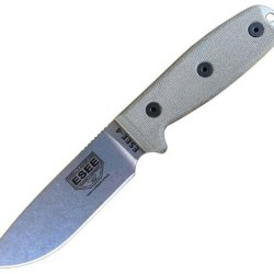 Esee 4P Uncoated Fixed Blade Knife W/ Coyote Brown Molded Polymer Sheath