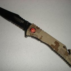 "Digital Desert Camo U.S. Marines ""The Few... The Proud..."" Spring Assist Rescue Pocket Knife With Glass Breaker"