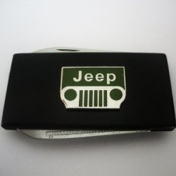 Jeep Black Stainless Steel Money Clip With Knife & Nailfile In Body Of Clip