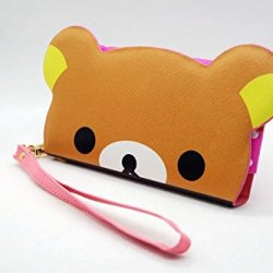 Cute Cartoon 3D Bear Head Flip Leather Wallet Case Pouch Cover Holster For Doogee Dagger Dg550