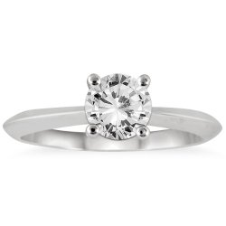 1 Carat Knife Edge Diamond Solitaire Ring In 14K White Gold