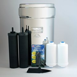 Berkey Survival Bundle-7 Items: Big Berkey Water Filtration System With 2 Black Filter Elements, 2 Pf-2 Fluoride Filters, A Free Credit Card-Sized Folding Survival Knife, And A Free Magnesium Fire Starter