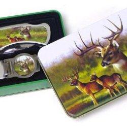 Deer Knife & Money Clip Set In Tin Box